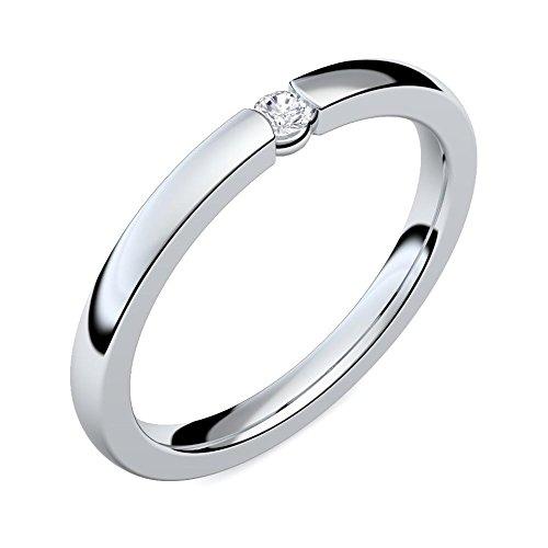 Verlobungsringe Silber 925 ❤️❤️❤️ Spannring von AMOONIC mit SWAROVSKI Zirkonia Stein Silber-Ring Damen-Ring wie Diamant-Ring Weißgold Solitär-Ring Heiratsantrag Antrag AM195SS925ZIFA-7 - 3