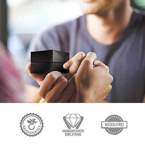 Verlobungsringe Silber 925 ❤️❤️❤️ Spannring von AMOONIC mit SWAROVSKI Zirkonia Stein Silber-Ring Damen-Ring wie Diamant-Ring Weißgold Solitär-Ring Heiratsantrag Antrag AM195SS925ZIFA-7 - 5