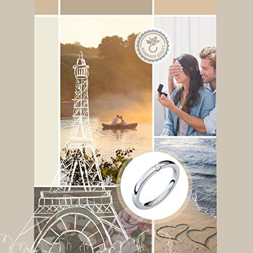 Verlobungsringe Silber 925 ❤️❤️❤️ Spannring von AMOONIC mit SWAROVSKI Zirkonia Stein Silber-Ring Damen-Ring wie Diamant-Ring Weißgold Solitär-Ring Heiratsantrag Antrag AM195SS925ZIFA-7 - 7