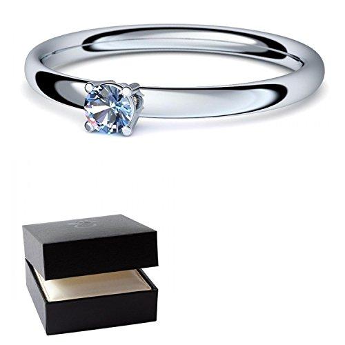 Weißgold Ring Blautopas 585 + inkl. Luxusetui