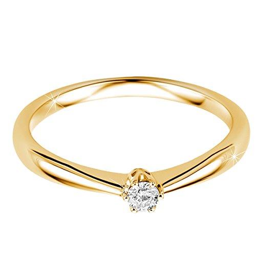 Orovi Ring für Damen Verlobungsring Gold Solitärring Diamantring 9 Karat (375) Brillianten 0.09crt GelbGold Ring mit Diamanten - 2