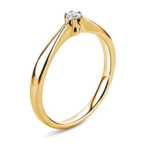 Orovi Ring für Damen Verlobungsring Gold Solitärring Diamantring 9 Karat (375) Brillianten 0.09crt GelbGold Ring mit Diamanten - 3