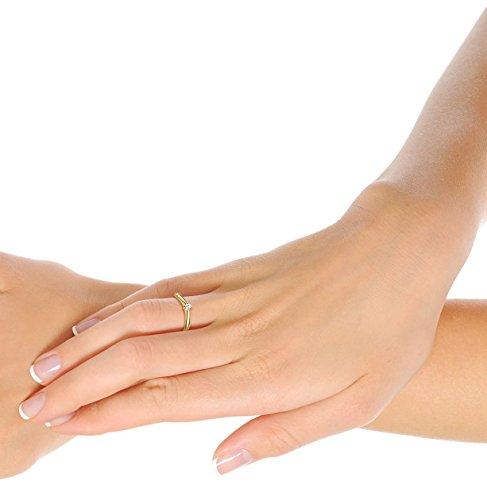 Orovi Ring für Damen Verlobungsring Gold Solitärring Diamantring 9 Karat (375) Brillianten 0.09crt GelbGold Ring mit Diamanten - 4