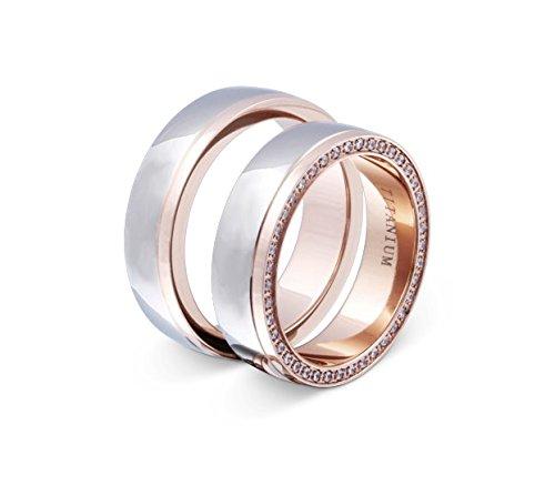 Flame -Ringe 2 Trauringe Titan Rosegold vergoldet Zirkonia mindestens 36 Steine weiss -gratis Gravur T-AT-HD - 2