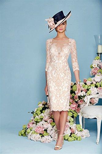 dressvip Elegant Rosa Chiffon Kleider Damen Festlich (32) - 2