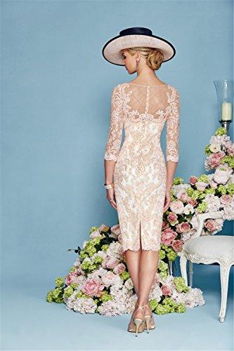 dressvip Elegant Rosa Chiffon Kleider Damen Festlich (32) - 3