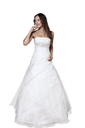 Brautkleid mit Glasstein, Perlen u. Pailletten bestickt