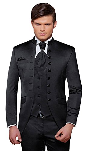 Herren Anzug - 8 teilig - Schwarz Cut Nadelstreifen