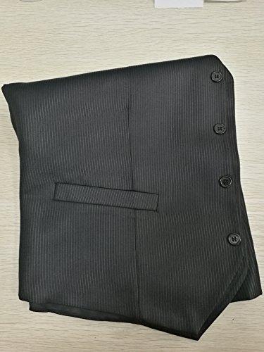Suit Me Herren 3-Teilig Anzug Slim Fit Hochzeiten Party Smoking Anzuege Sakko,Streifen Weste,Hose Schwarz M - 2