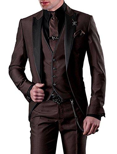 Lilis® Herrenanzug 3pc Anzug Einreiher Slim Fit