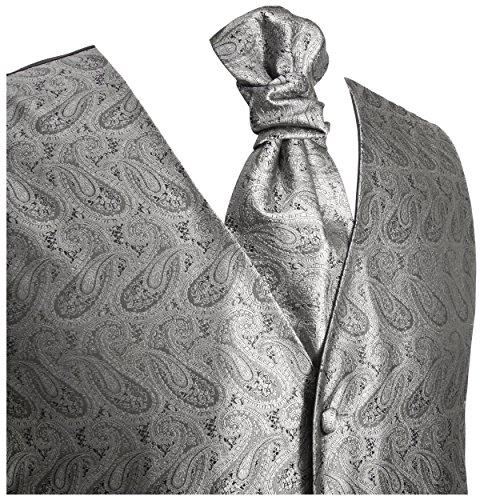 Schwarzer Hochzeitsanzug Set 7tlg + Hochzeitswesten Set silber grau paisley + Hochzeitshemd weiß - 3