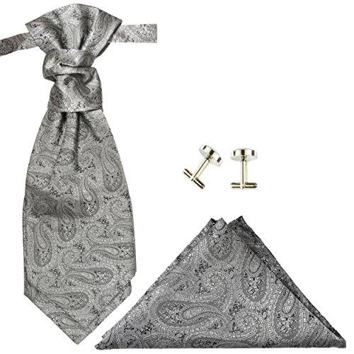 Schwarzer Hochzeitsanzug Set 7tlg + Hochzeitswesten Set silber grau paisley + Hochzeitshemd weiß - 4