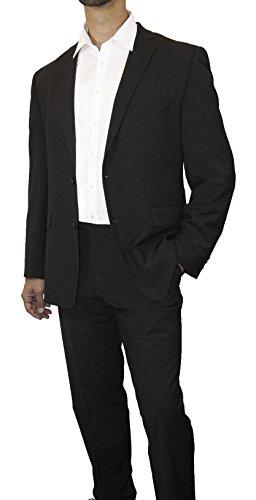Schwarzer Hochzeitsanzug Set 7tlg + Hochzeitswesten Set silber grau paisley + Hochzeitshemd weiß - 7