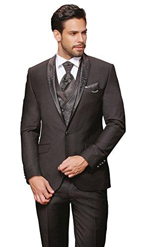 Schwarz Designer Hochzeitsanzug 8 teilig