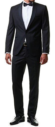 Paco Romano Herren Smoking Anzug Jacket Sakko Hose Schwarz 2-Teilig Slim Fit Premium Cotton 80% Wolle Gentleman Hochzeit Feier Dinner 67712, Farbe:Schwarz, Größe:54 / XL - 2