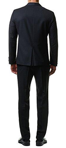 Paco Romano Herren Smoking Anzug Jacket Sakko Hose Schwarz 2-Teilig Slim Fit Premium Cotton 80% Wolle Gentleman Hochzeit Feier Dinner 67712, Farbe:Schwarz, Größe:54 / XL - 3