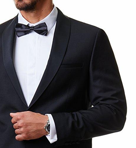 Paco Romano Herren Smoking Anzug Jacket Sakko Hose Schwarz 2-Teilig Slim Fit Premium Cotton 80% Wolle Gentleman Hochzeit Feier Dinner 67712, Farbe:Schwarz, Größe:54 / XL - 7
