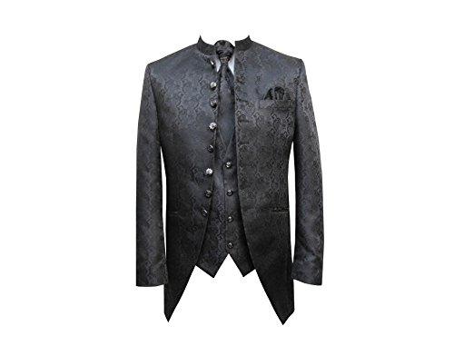 MUGA Hochzeit Anzug Cutaway 5-teilig Jacquard Schwarz