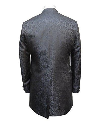 MUGA Hochzeit Anzug Cutaway 5-teilig Jacquard Schwarz 56 - 2