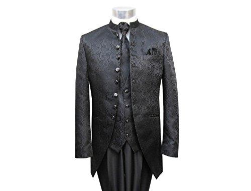 MUGA Hochzeit Anzug Cutaway 5-teilig Jacquard Schwarz 56 - 3