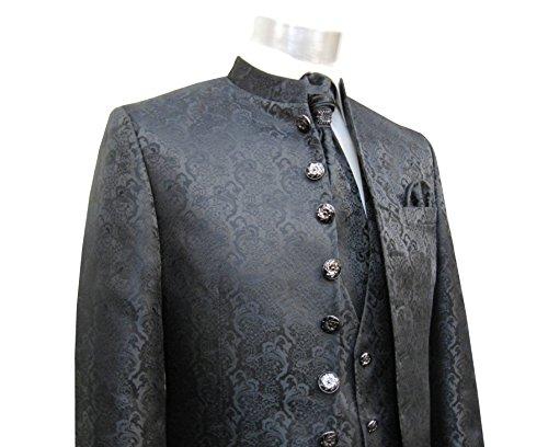 MUGA Hochzeit Anzug Cutaway 5-teilig Jacquard Schwarz 56 - 4