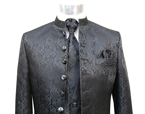 MUGA Hochzeit Anzug Cutaway 5-teilig Jacquard Schwarz 56 - 5