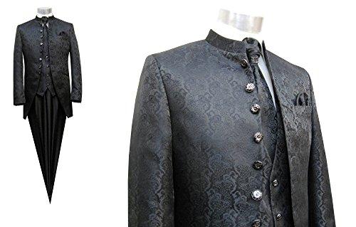 MUGA Hochzeit Anzug Cutaway 5-teilig Jacquard Schwarz 56 - 6