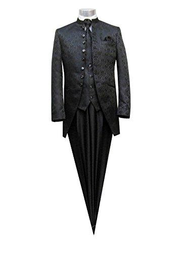 MUGA Hochzeit Anzug Cutaway 5-teilig Jacquard Schwarz 56 - 7