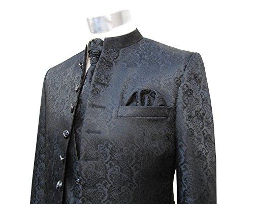 MUGA Hochzeit Anzug Cutaway 5-teilig Jacquard Schwarz 56 - 8