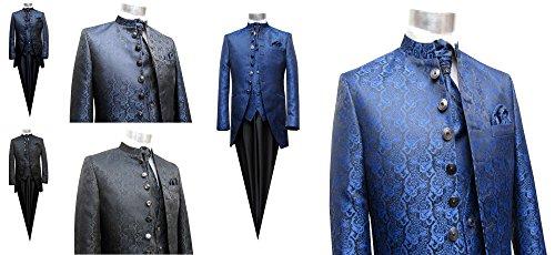 MUGA Hochzeit Anzug Cutaway 5-teilig Jacquard Schwarz 56 - 9