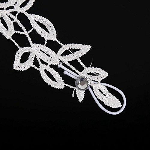 Musuntas Weisse Blumen Brauthandschuhe Fingerlose Satin Perlen Hochzeit Prom-two style -