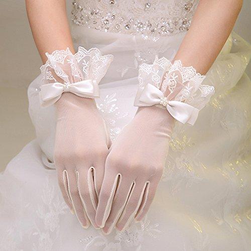 Exquisite Retro Brauthandschuhe, kurz mit Spitze, beige
