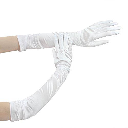 Elastische Satin Brauthandschuhe Weiß