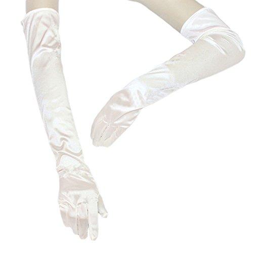 FakeFace Opernlänge Fingerspitzen Handschuh Elastischer Satin Brauthandschuhe Party Abendhandschuhe handschuhe Winter Frühling Sommer Weiß -