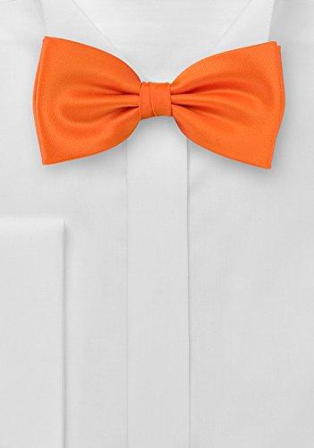 PUCCINI Einfarbige Fliege Herren, Satin-Schimmer, verschiedene Farben, Mikrofaser, Handarbeit, Hochzeit & Alltag (Orange) - 2