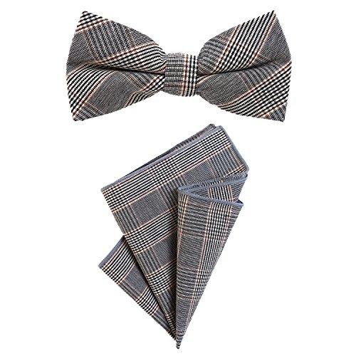 Fliege 12 x 6 cm mit Einstecktuch im Tweed Look