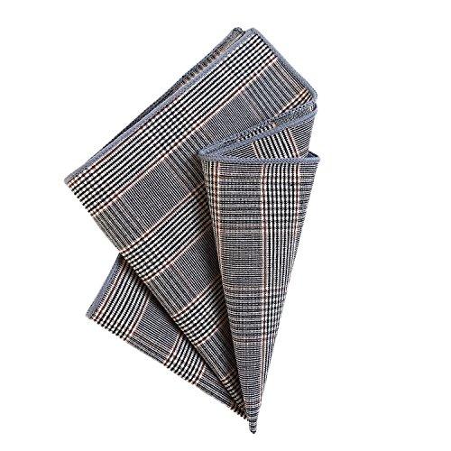 DonDon Herren Fliege 12 x 6 cm mit farblich passendem Einstecktuch 23 x 23 cm beides aus Baumwolle im Tweed Look grau-braun kariert - 2