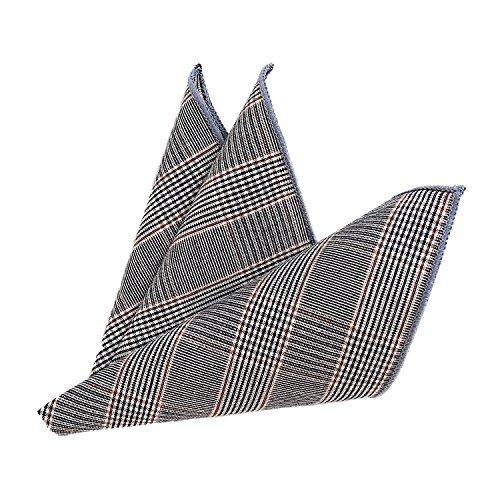 DonDon Herren Fliege 12 x 6 cm mit farblich passendem Einstecktuch 23 x 23 cm beides aus Baumwolle im Tweed Look grau-braun kariert - 3