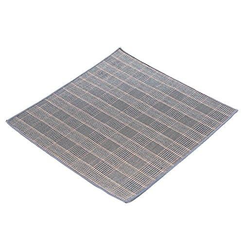 DonDon Herren Fliege 12 x 6 cm mit farblich passendem Einstecktuch 23 x 23 cm beides aus Baumwolle im Tweed Look grau-braun kariert - 4