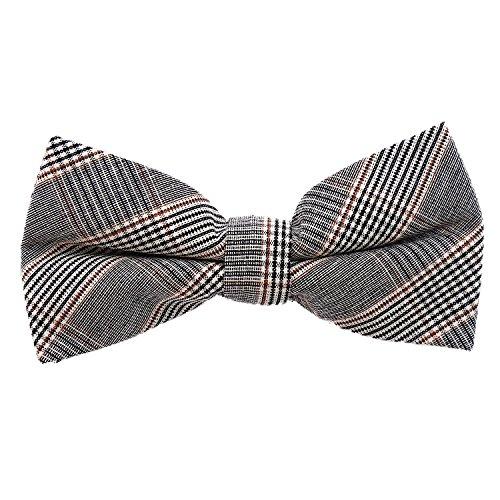 DonDon Herren Fliege 12 x 6 cm mit farblich passendem Einstecktuch 23 x 23 cm beides aus Baumwolle im Tweed Look grau-braun kariert - 5