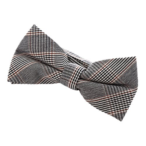 DonDon Herren Fliege 12 x 6 cm mit farblich passendem Einstecktuch 23 x 23 cm beides aus Baumwolle im Tweed Look grau-braun kariert - 6