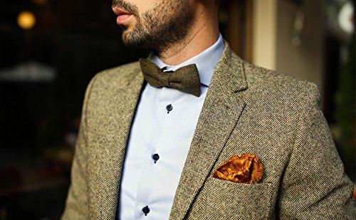 DonDon Herren Fliege 12 x 6 cm mit farblich passendem Einstecktuch 23 x 23 cm beides aus Baumwolle im Tweed Look grau-braun kariert - 7