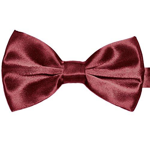 3-SET Fliege Weinrot Rot Manschettenknöpfe Einstecktuch Satin Seiden Optik - Schleife zum Anzug - 2