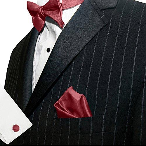 3-SET Fliege Weinrot Rot Manschettenknöpfe Einstecktuch Satin Seiden Optik - Schleife zum Anzug - 5