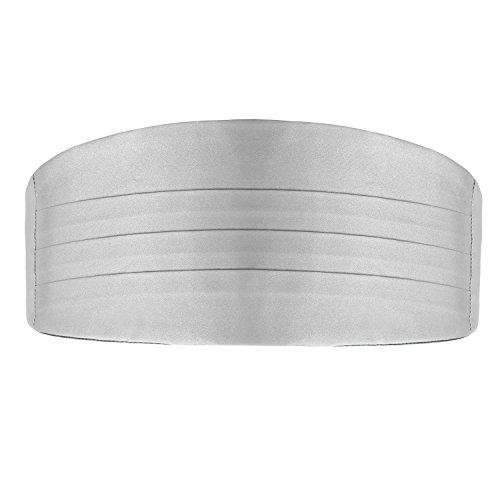 DonDon 3er Set Herren Kummerbund Fliege Einstecktuch farblich abgestimmt glänzend für feierliche Anlässe - Silber-grau - 2