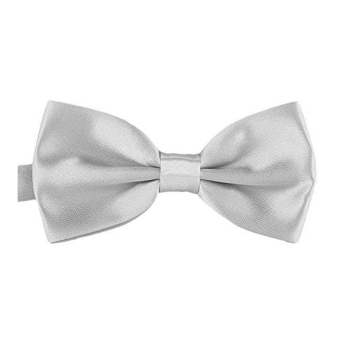 DonDon 3er Set Herren Kummerbund Fliege Einstecktuch farblich abgestimmt glänzend für feierliche Anlässe - Silber-grau - 3