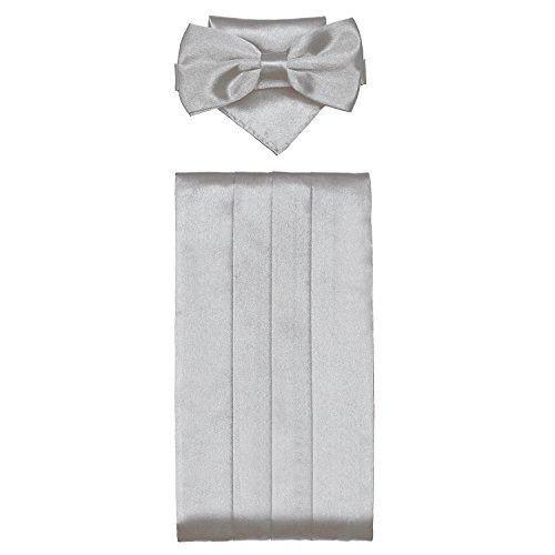 DonDon 3er Set Herren Kummerbund Fliege Einstecktuch farblich abgestimmt glänzend für feierliche Anlässe - Silber-grau - 5