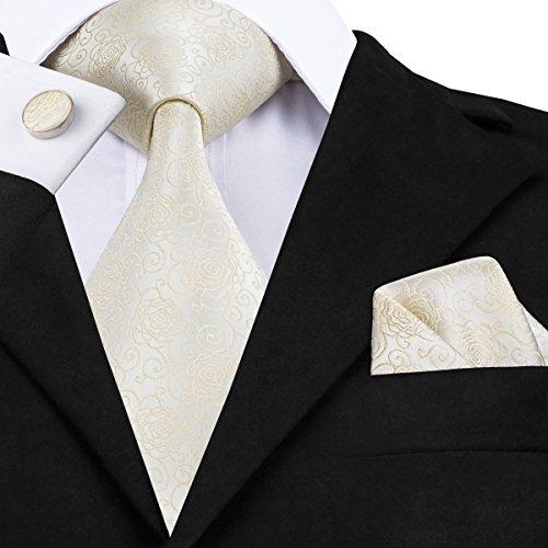 Barry. Wang, Krawatten-Set im Blumenmuster mit Einstecktuch und Manschettenknöpfen Gr. Einheitsgröße, elfenbeinfarben - 2