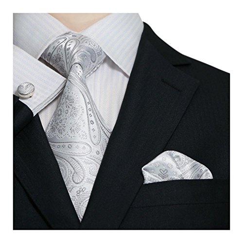 Paisley Männer Seiden Krawatten Set Silver