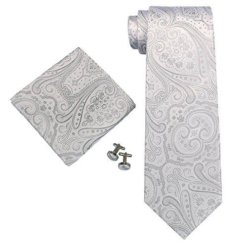 Landisun 21N Paisley Männer Seide Krawatten Set Silver Weiß, 59